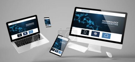 flying devices with innovative technology website, responsive design, 3d rendering