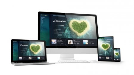 travel website design on screens of computer gadgets, 3d rendering