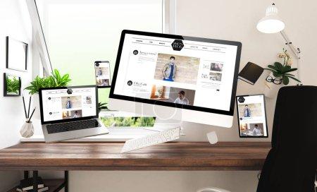 Photo pour Dispositifs avec blog site Web au bureau à domicile, rendu 3d - image libre de droit