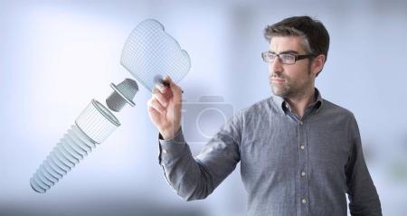 man designing prosthesis, 3d rendering