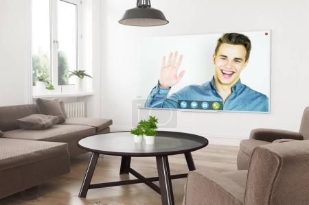 Photo pour Télévision intelligente panoramique moderne sur un salon de rendu 3d avec appel vidéo à l'écran - image libre de droit