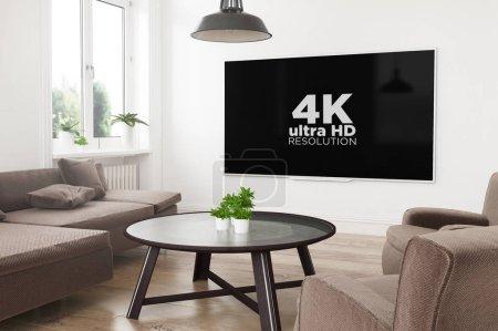 Photo pour Télévision intelligente panoramique moderne sur 3d rendant salon avec 4k à l'écran - image libre de droit