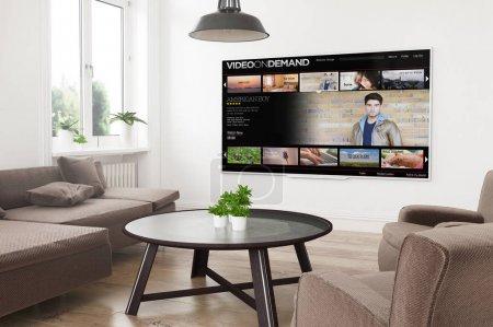Photo pour Moderne panoramique smart tv sur 3d rendant salon - image libre de droit