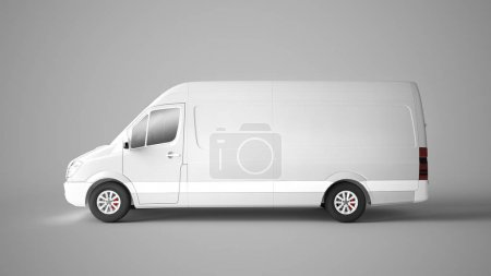 3d rendering of a van mockup isolated on grey background