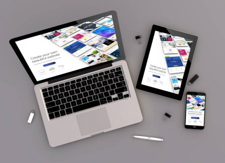 3d rendering of website builder responsive devices with laptop computer, tablet pc and  smartphone
