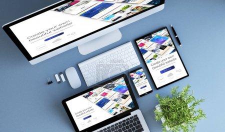 blue devices top view creative website builder 3d rendering.