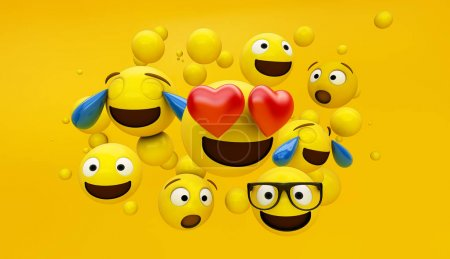 group of emoticons with yellow background 3d rendering