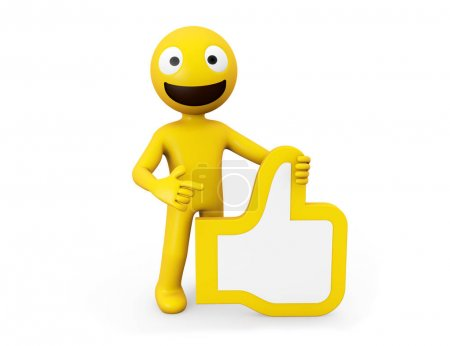 3d rendering yellow character with ok hand icon