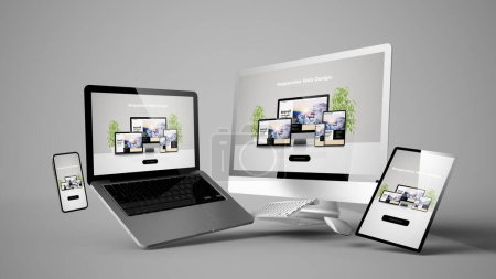Photo for Floating devices mockup with responsive website design 3d rendering - Royalty Free Image