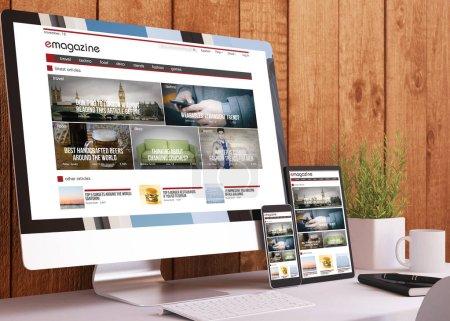 Photo pour Appareils réactifs sur le site Web e-magazine studio en bois rendu 3d - image libre de droit