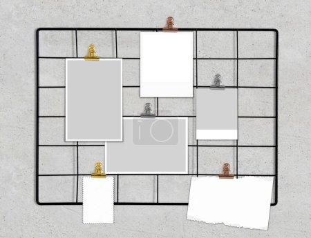 Photo pour Moodboard maquette sur grille métallique rendu 3d - image libre de droit
