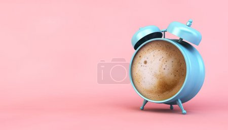 blue and pink coffee clock concept 3d rendering