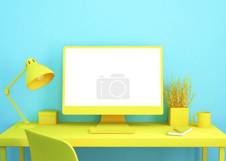 cool office desktop in blue and yellow 3d rendering computer mockup