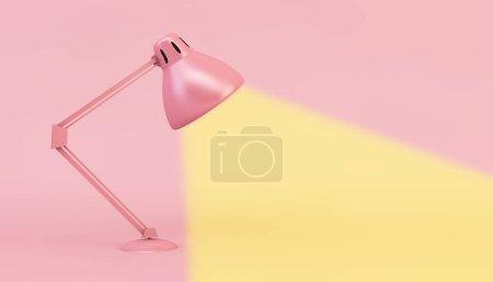 Photo pour Lampe rose minimale rendu 3d - image libre de droit