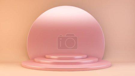 Photo pour Podium réfléchissant rose rendu 3d - image libre de droit