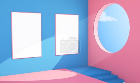 Two poster abstract interior 3d rendering...