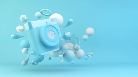 Photo for Blue camera surrounded by geometrical shapes 3d rendering - Royalty Free Image