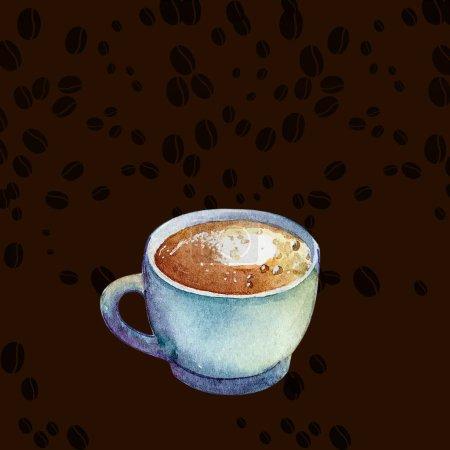 Photo pour Tasse à macchiato café Aquarelle sur fond marron avec des grains de café à ce sujet. Main dessinée tasse de café à la crème. Tasse à cappuccino savoureux, aromatique expresso, latte macchiato, café turc aquarelle. - image libre de droit