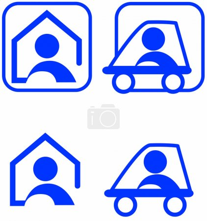 Icons for nursing at home and nursing on tour color theme illustration