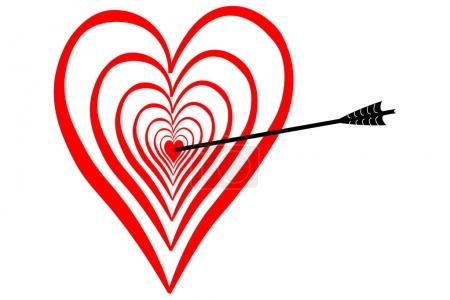 Strike in love, in the middle of the heart, bow with arrow