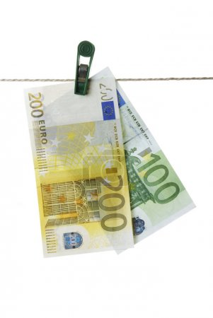 Isolated Euro Hanging On Clothesline