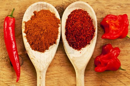close-up of spicy Red Chili peppers with powder