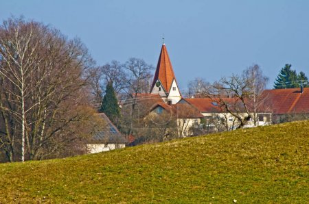 Panoramic View To A Small Village With A Church