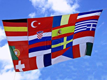 Photo pour Drapeaux des pays d'Europe bouchent shot - image libre de droit