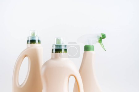 Photo for Set of blank label bottles for mockup packaging of cleaning detergent on white background. Cleaning tools, cleanliness and cleaning layout. - Royalty Free Image