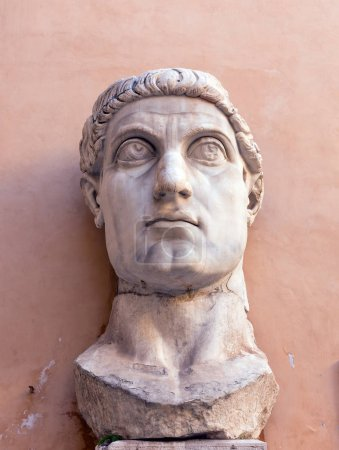 Marble head representing Roman Emperor Constantine the Great