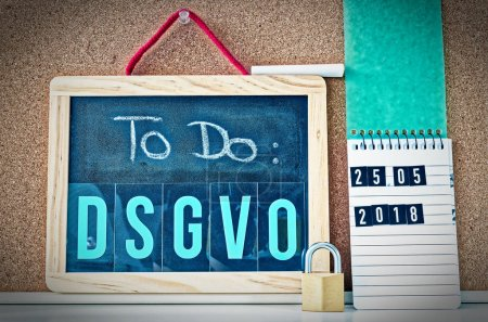 Board To Do DSGVO (General Data Protection Regulation) in English To Do GDPR (General Data Protection Regulation) with a laptop and padlock for the introduction of the DSGVO in the EU on 25.05.2018