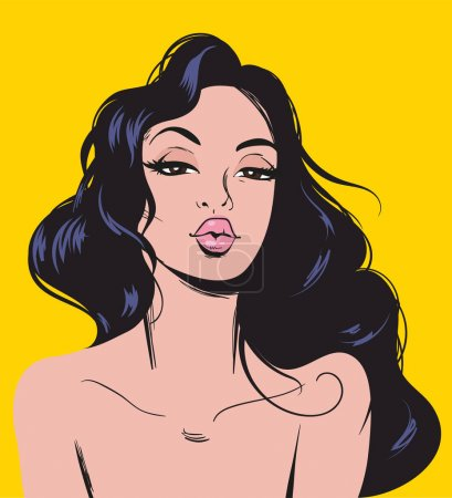 Illustration pour Élégant romantique femme sexy pop art. À la mode belle brune femme rétro style comique . - image libre de droit