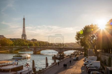 Photo for Paris with Eiffel Tower against colorful sunset in France - Royalty Free Image