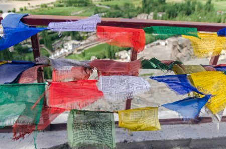 Multicolored flags with Tibetan prayer signs