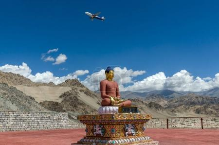 Flight above the Buddha statue in Spituk Monastery