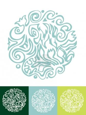 Illustration for Vector set with hand drawn ayurveda icons - Royalty Free Image