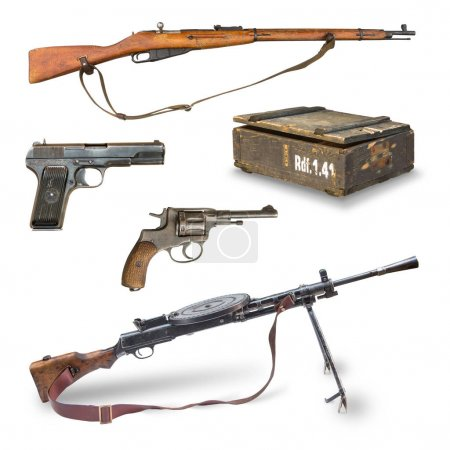 pistols, rifles, machine guns, ammunition box.