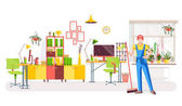 Office cleaning Vector illustration