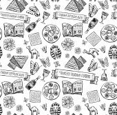 Passover Jewish holiday Pattern in doodle style