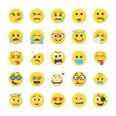 Smiley Flat Icons Set