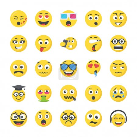 Illustration for Smileys Flat Vector Icons - Royalty Free Image