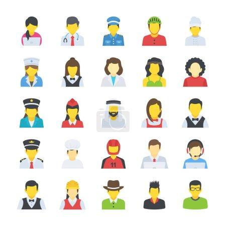 Illustration pour Ensemble d'icônes plates - image libre de droit