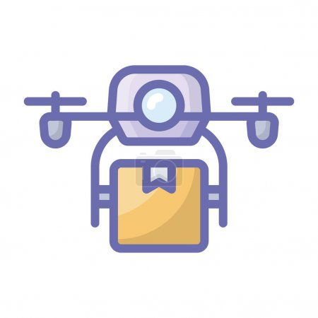 Illustration for Drone delivery, drone with package delivery services. - Royalty Free Image