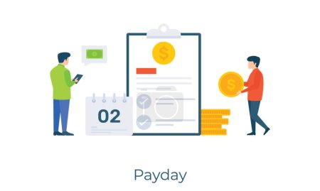 Illustration for Cash with calendar, payday vector in flat illustration design. - Royalty Free Image