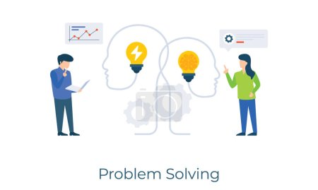 Illustration pour En partageant des idées et des tâches de pensée brillante peut être fait, la résolution de problèmes conception d'illustration plate - image libre de droit