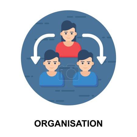 Illustration pour Hiérarchie de gestion d'entreprise, icône de l'organisation dans le vecteur arrondi plat - image libre de droit