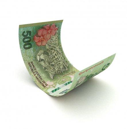Photo pour Pesos argentins recroquevillés (isolés avec un chemin de coupe ) - image libre de droit
