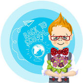 smile boy red glasses with bouquet flowers stand near blue background with letters and paintings back to school white chalk drawing airplane and globe with chalk on a blackboard