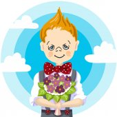 1st september school day education smile school boy blond hair who take a bouquet flowers to teacher to mam to girl blue sky with white cloud background