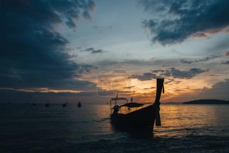 Photo for Boats in harbour at sunset, Krabi, Thailand - Royalty Free Image